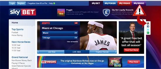 skybet homepage easter egg