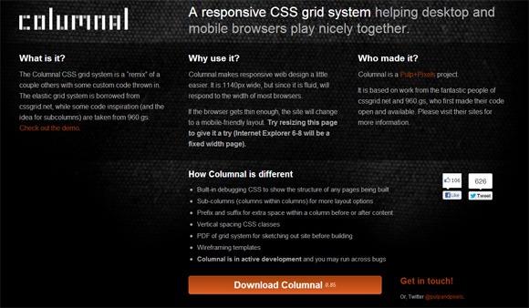 columnal responsive grid system
