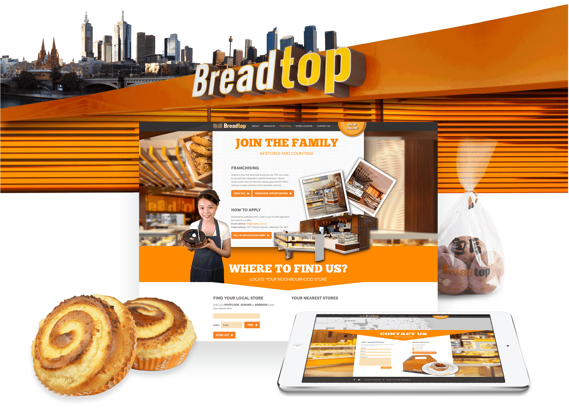 Responsive Views of Breadtop Website Home Content