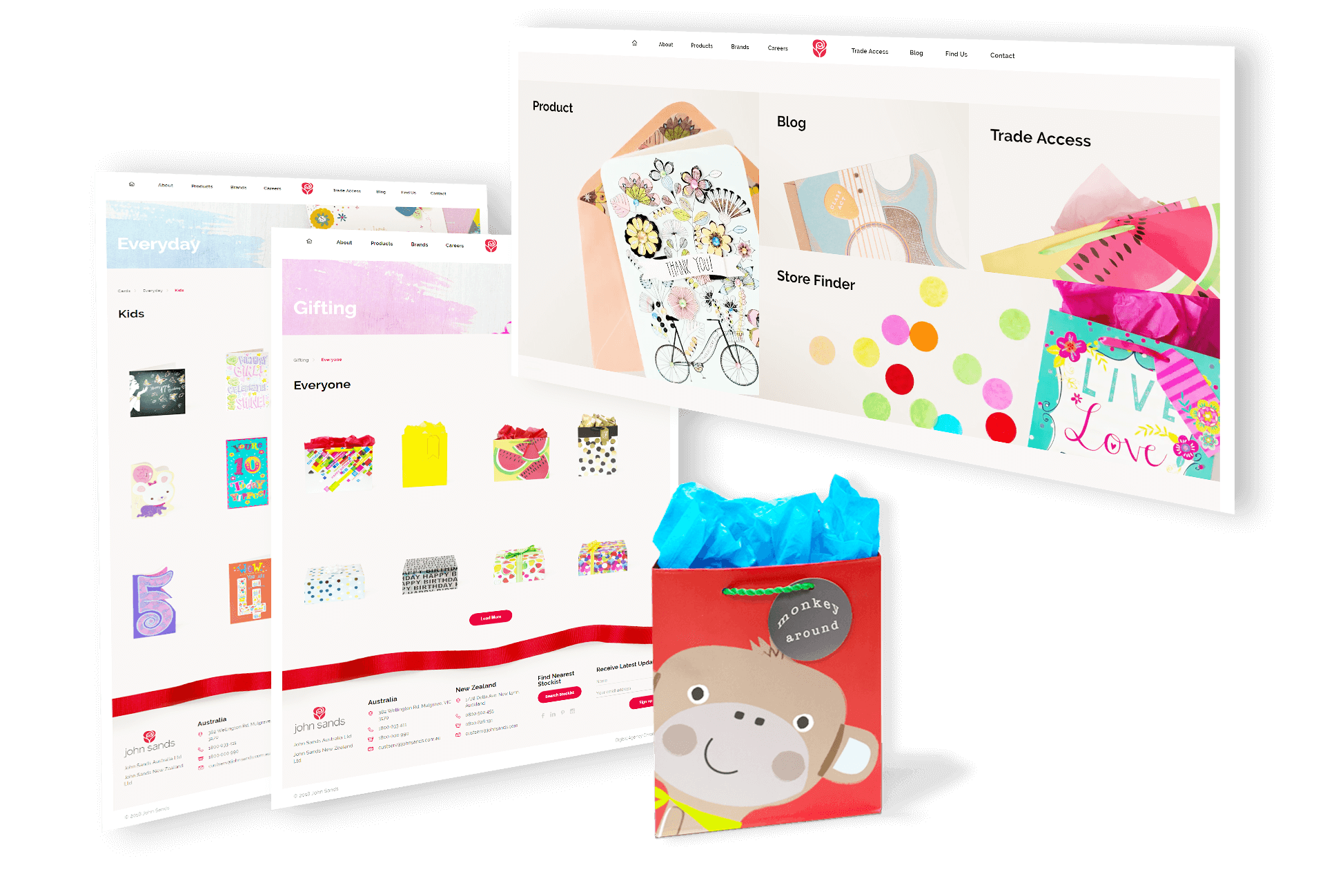 website design screenshots with gift bag