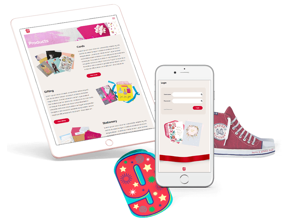 Tablet and mobile view of website with a shoe and birthday card