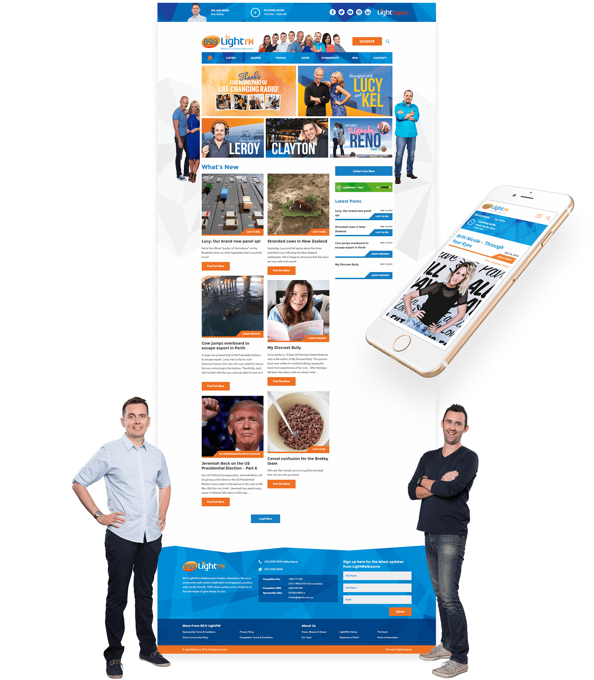 Website design and mobile view and two male hosts