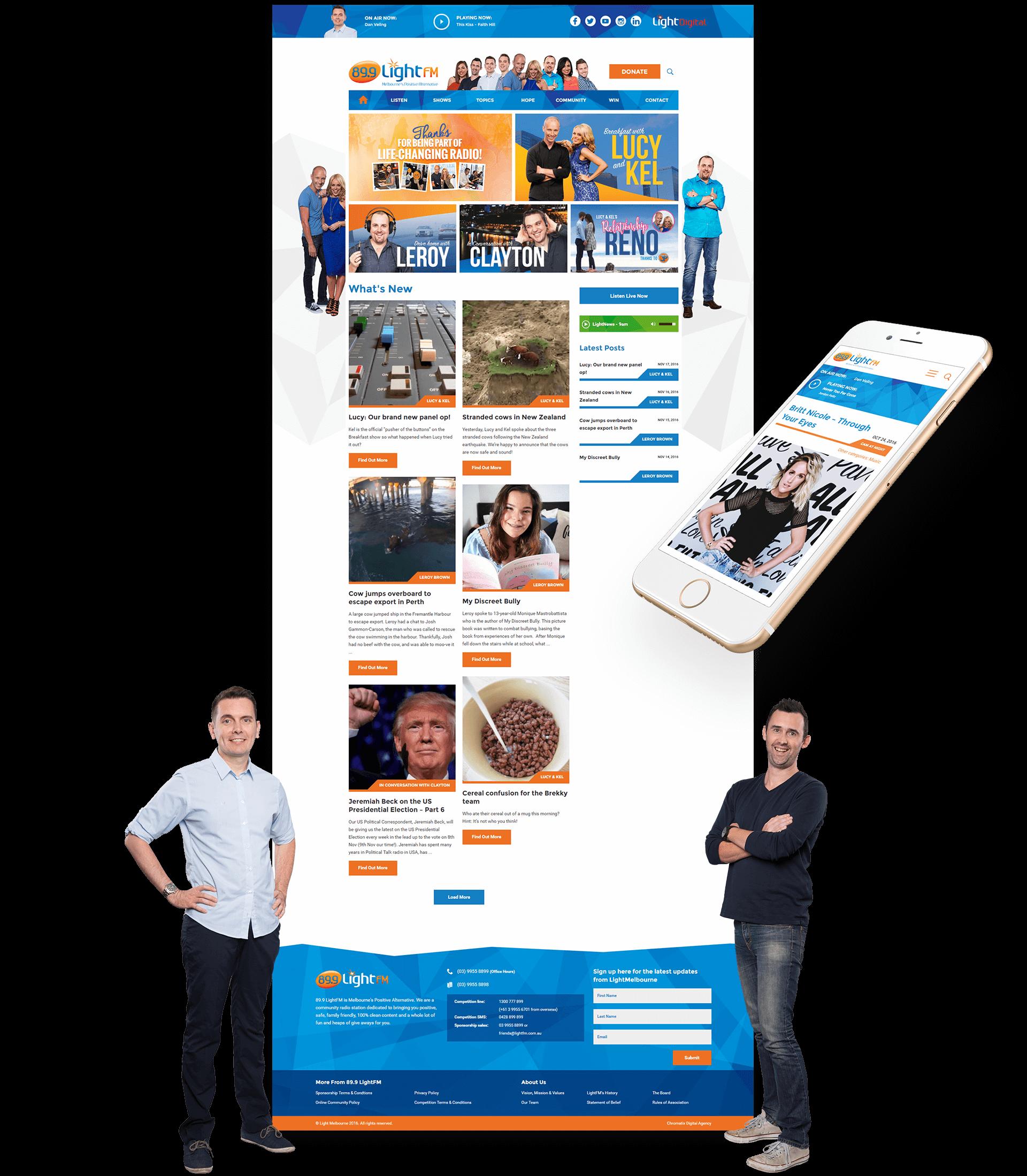 Desktop and Mobile Views of LightFM Website Showcasing Articles