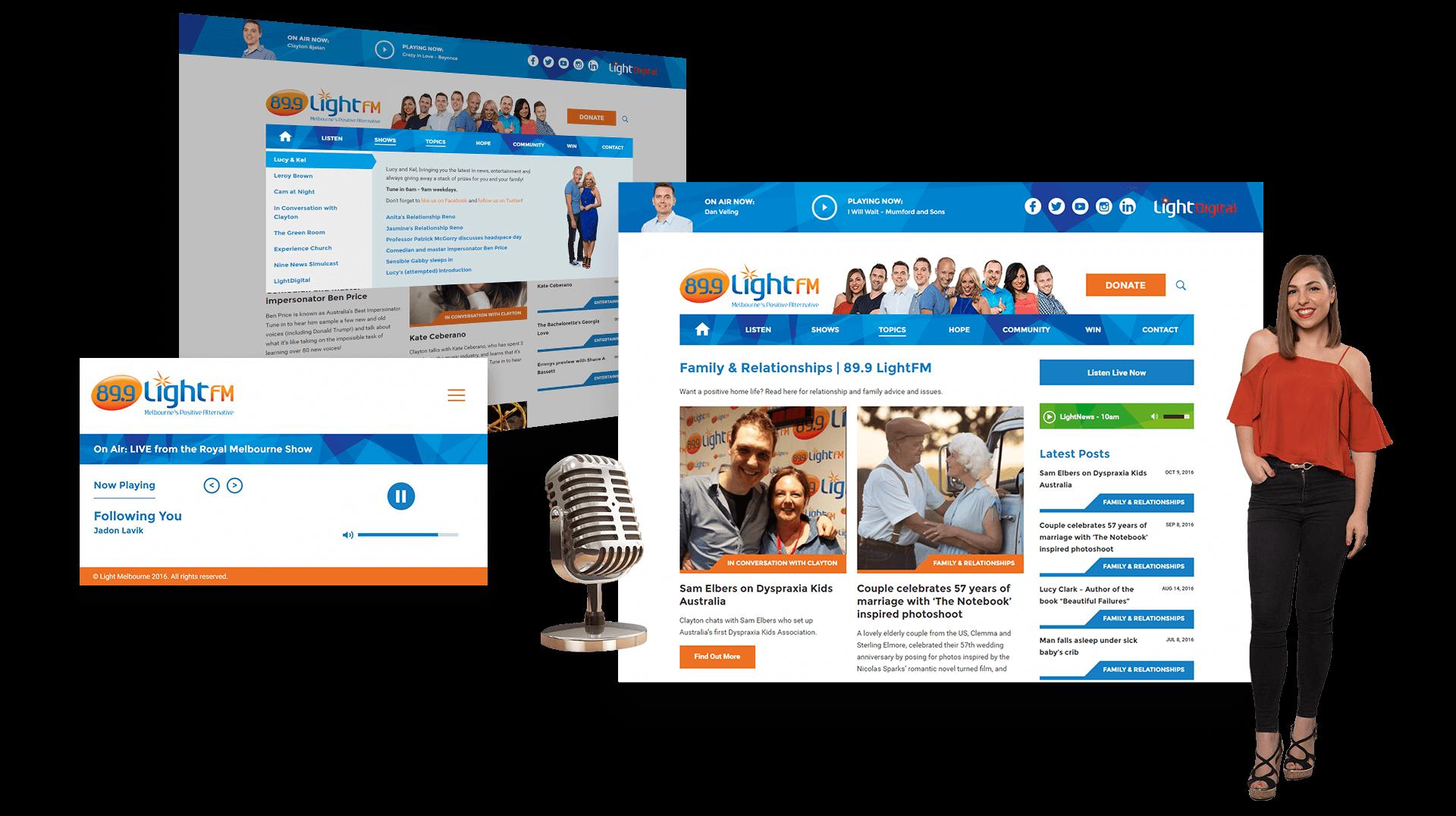 Desktop Views of LightFM Website Showcasing Menus and Listing Page