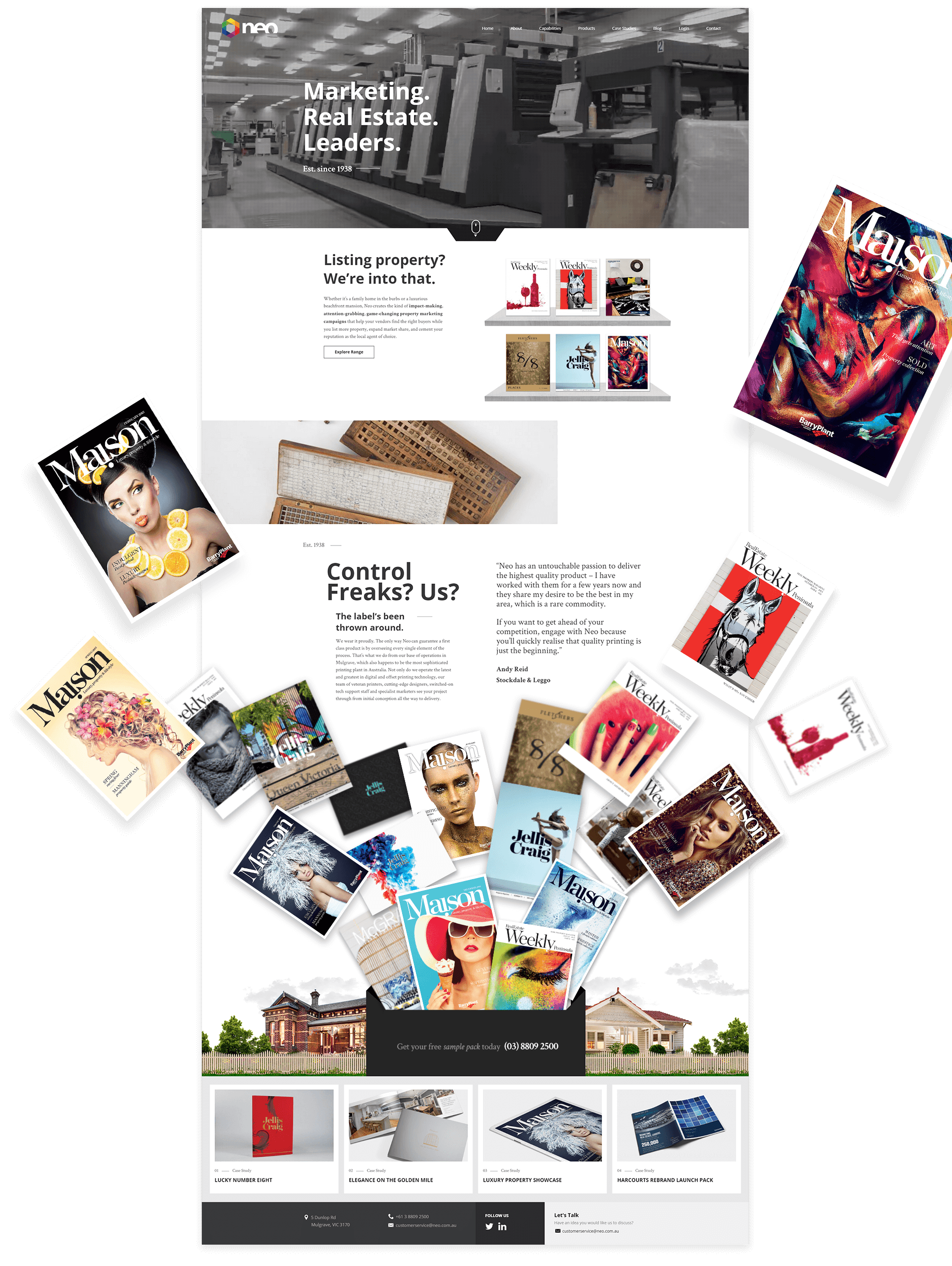 Design style of the website with different magazine cover and pages