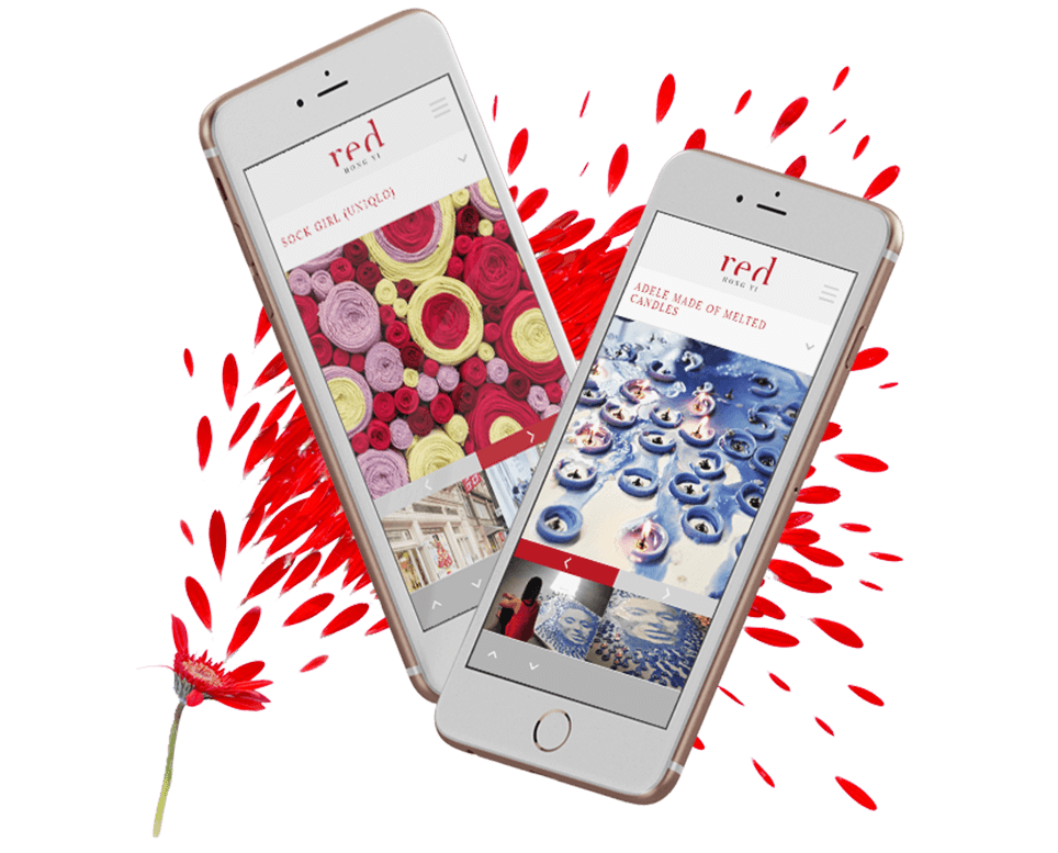 Mobile View of Red Hong Yi Website Showcasing Portfolio Pages and Artwork