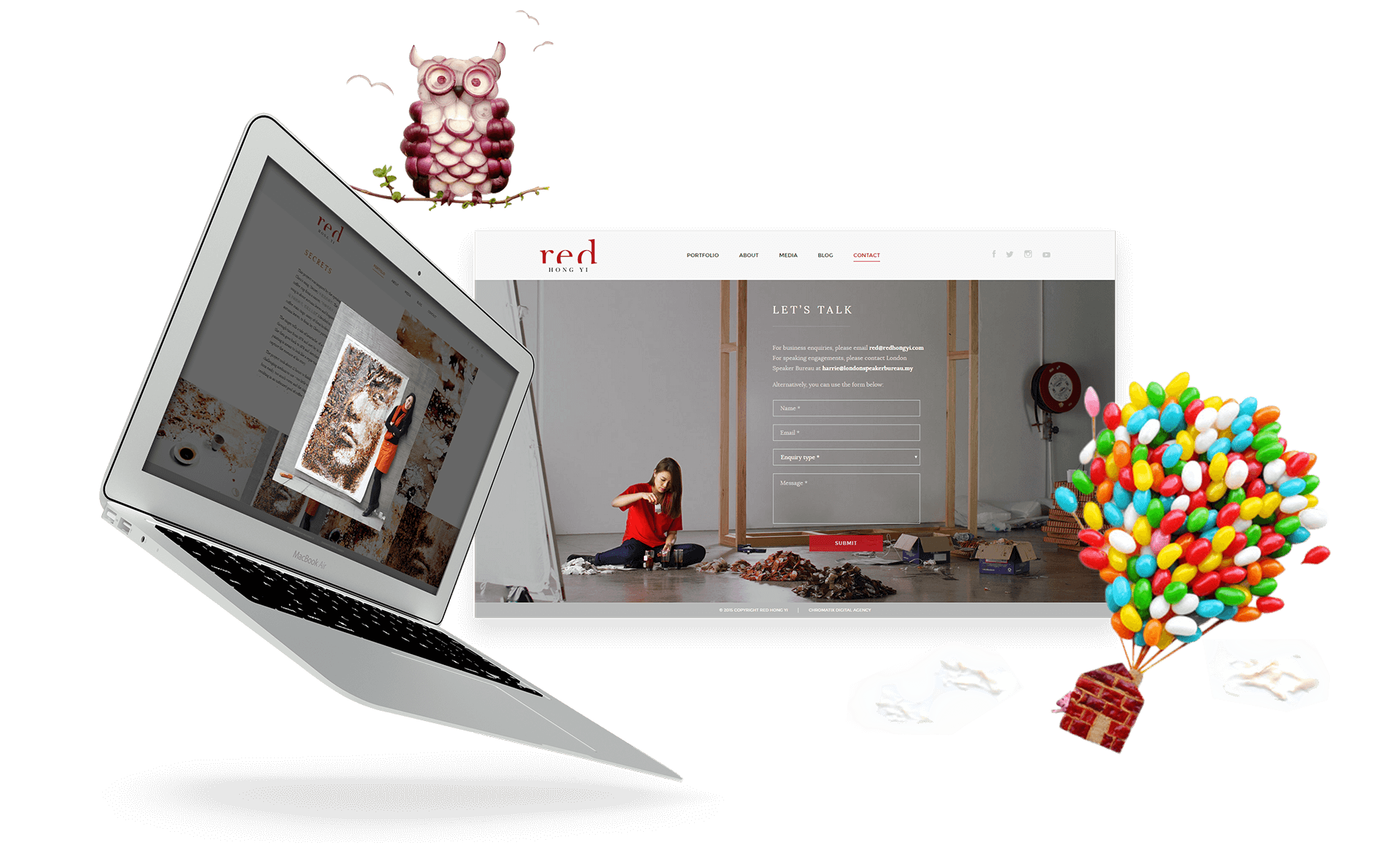 Laptop and Desktop View of Red Hong Yi Website Showcasing Contact Page and Artwork