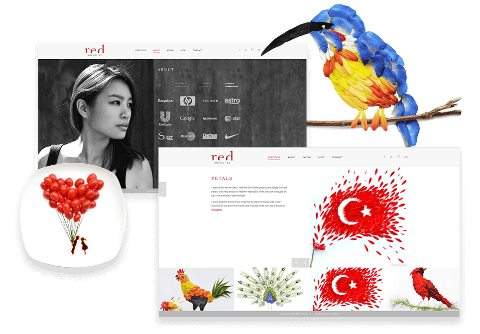 Desktop View of Red Hong Yi Website Showcasing About and Portfolio Pages