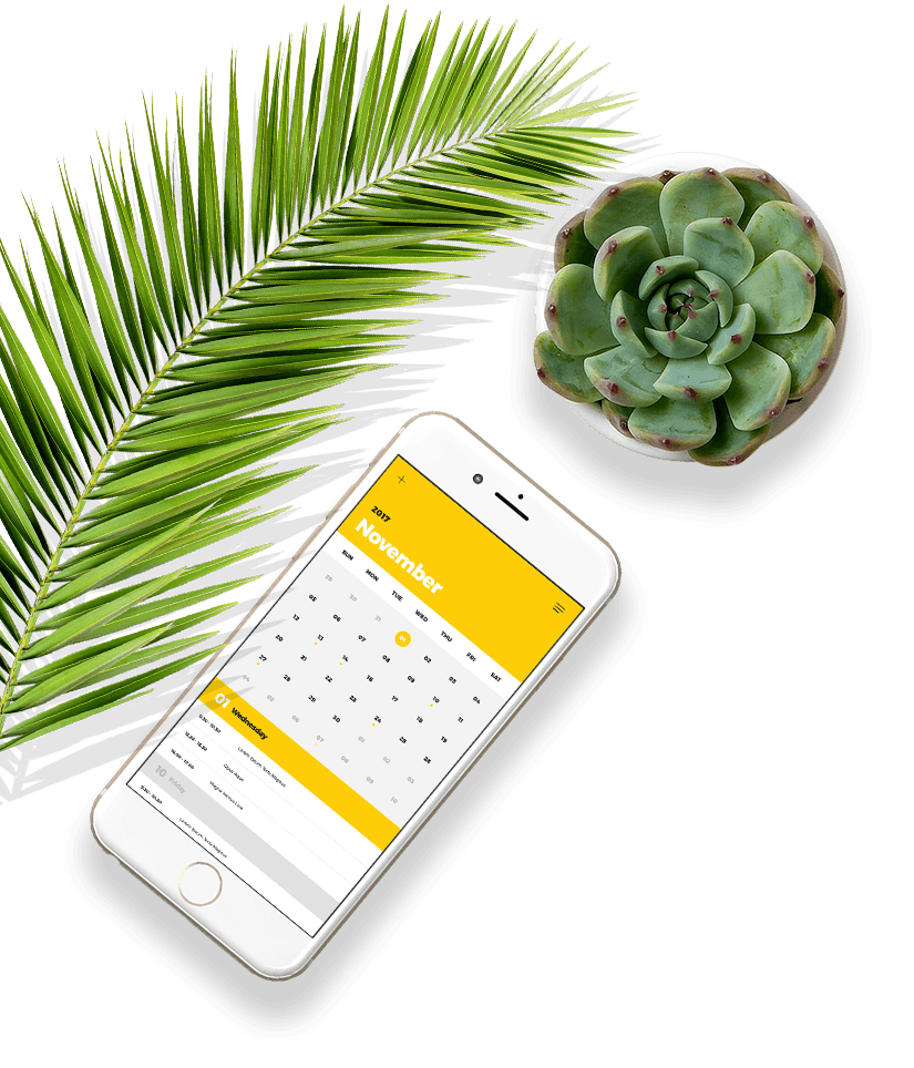 Phone Calendar With Plants