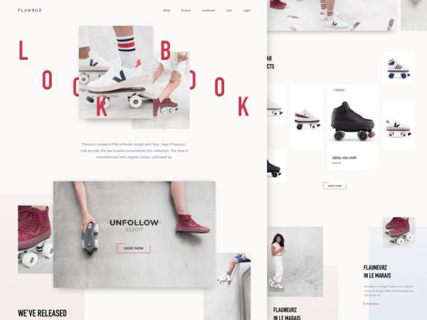 Rollerskate website with broken grid style layout