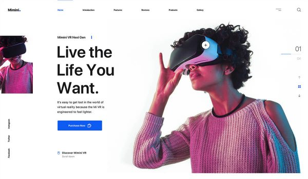 Landing page with a woman using VR with colour channel editing