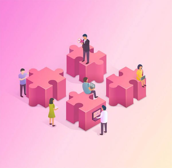3D isometric illustration showing people and jigsaw pieces