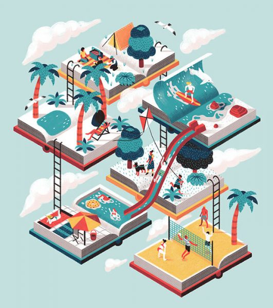 3D isometric illustration showing books and people on different levels