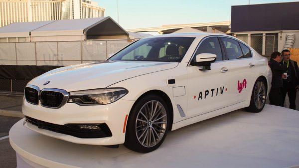 Lyft self-driving car at CES exhibition in Las Vegas