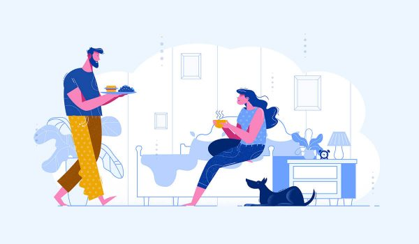 Modern day mid century illustration of a man and woman at home