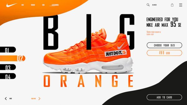 Orange shoe and overlapping text