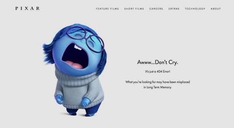 creative 404 error screen from Pixar
