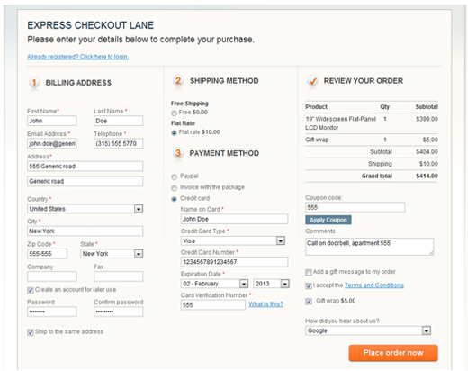 long checkout form in eCommerce example