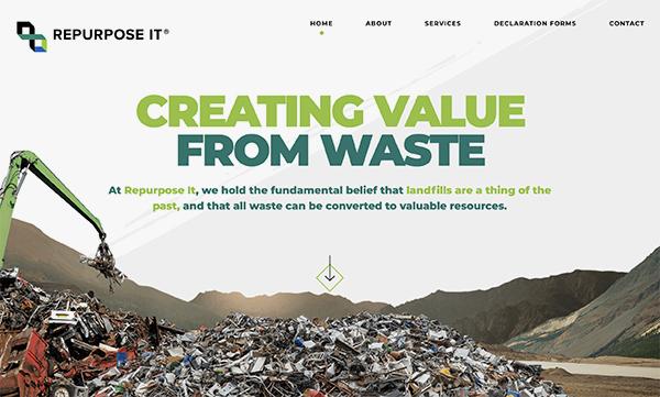 homepage header design showing rubbish