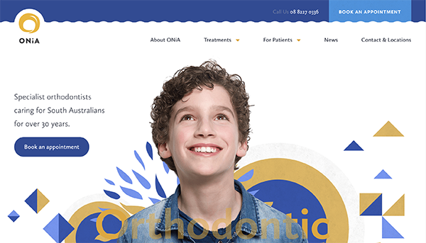 Homepage design showing a young boy