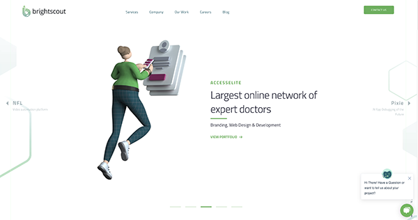 Homepage for Brightscout with creative illustration
