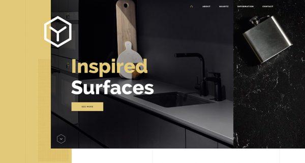 Homepage header banner with gold elements against modern kitchen