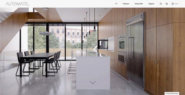 Homepage header showing minimalistic kitchen