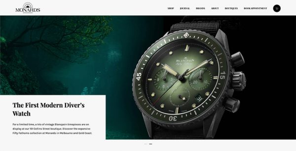 Homepage header banner showing expensive watch